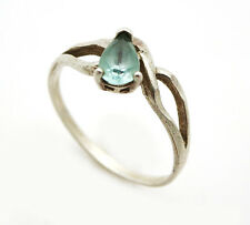 Modernist 925 Sterling Silver Aquamarine Delicate Ring Size 8 1.5g DS-2637