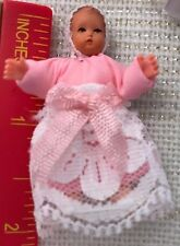 "Caco Dollhouse BABY GIRL DOLL  1:12 scale Miniature 2"" Pink Lace"