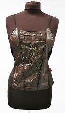 Raven gothic gilet nero con croce in metallo e catena taglia unica