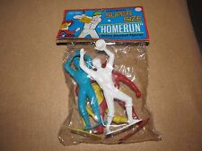 """Vintage Joy Toy Plastic Baseball Figures Players 6"""" Tall Mint In Package"""