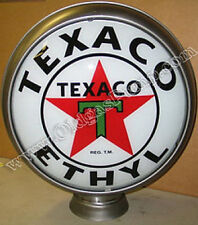 "TEXACO ETHYL GASOLINE OIL 15"" GAS PUMP GLOBE FREE S&H"