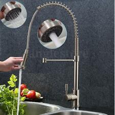 Brushed Nickel Kitchen Sink Faucet Pull out Dual Spray Swivel Spout Mixer Tap