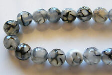 50pcs 8mm Round Faceted Natural Gemstone Beads - Dragon Vein Agate (Fire Agate)