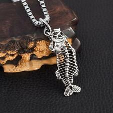 Cool Men's LF Stainless Steel Skull Fishbone Pendant Necklace 22""