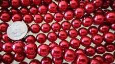 100 Genuine AUTHENTIC Czech Glass 10mm Red Metallic Round Pearl Necklace Beads