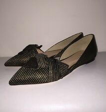 J.Crew $158 Sloan Striped D'Orsay flats with obi bow 6 e4667 black gold stripe