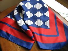 "Vintage RED WHITE BLUE Nautical Vintage Geometric Scarf 26"" Square"