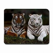 White Tiger and Bengal Cat Zoo Wildlife Decor PC Mouse Pad Mat Mousepad New!