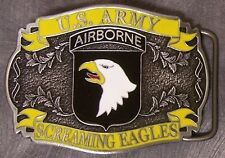 Military Belt Buckle Pewter 101st Airborne emblem NEW - MADE IN THE U.S.A.