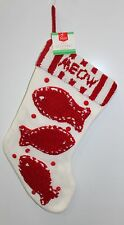 """CAT CHRISTMAS STOCKING 19"""" Red White Meow Holiday Decoration Cute Pet Winter NEW"""