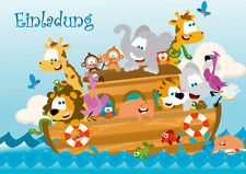 6 merry Invitation cards for children's birthday / Zoo-animals on the Ark Noah