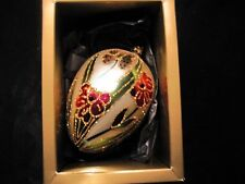 Gold Oval Beaded Hand Blown Glass Christmas Ornament Embellished Egg Shape