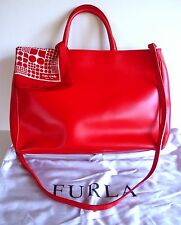 AUTH FURLA TRUE RED SMOOTH LEATHER LARGHE 2-WAY SATCHEL/CROSSBODY/ITALY-SUPERB