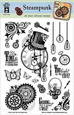 STEAMPUNK Clear Unmounted Rubber Stamp Set 22 Stamps HOTP 1193 Gears Clocks New