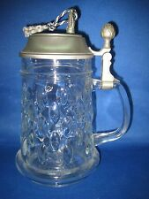 Antique German Unique Pewter Music Box Lid Glass Beer Mug W/ Handle &Lid Special
