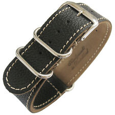 22mm Fluco Germany 2-Piece Mens Black Leather MoD G10 Military Watch Band Strap