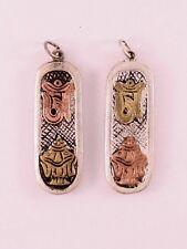 Tibetan 3-color Copper Carved OM Protect Parasol 2 Cross Vajra Dorje Pendant