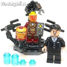 Lego Custom Suit-Up Gantry Anthony Tony & Iron Man Mark 42 Minifigures NEW