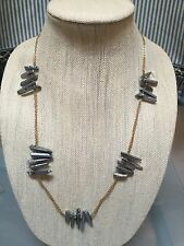 NWOT Faux Pyrite Silver Iridescent Raw Stone Statement Necklace Anthropologie