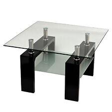 Design Glastisch Beistelltisch Edelstahl Hochglanz Schwarz + 8 mm ESG Glas