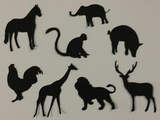 8 x ZOO ANIMALS SILHOUETTE Die Cuts  Quality Black Card