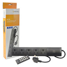 5 Way Remote Control Extension Lead 5 Gang 2m Surge Protector - Black