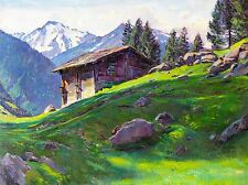 PAINTING LANDSCAPE SWISS ALPS CHALET SHACK MOUNTAIN SNOW TREE POSTER LV2652