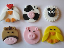 6 LARGE FONDANT 2D HANDMADE FARM ANIMALS ,CUPCAKE TOPPERS,PIG,COW,CHICKEN,SHEEP