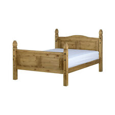 Corona Bed Frame - King Size 5ft - Distressed Waxed Pine - High Foot End
