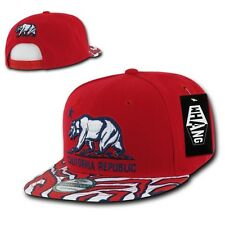 Red California Republic Cali Zebra Print Flat Bill Snapback Snap Back Cap Hat