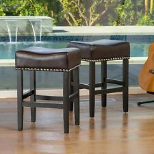 Set of 2 Brown Studded Leather Backless Counter Height Stool 26 in Padded Seat