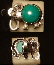FREE SIZE ELEPHANT OUTLINE TURQUOISE ALLOY RING, SIZE 7