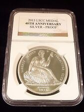 GOBRECHT SILVER DOLLAR RESTRIKE 2013 SEATED LIBERTY CLUB 40TH ANN NGC DEEP CAMEO