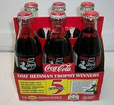 6 PACK W/CARTON OHIO STATE BUCKEYES 5 HEISMAN TROPHY WINNERS COKE BOTTLES.
