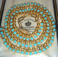 Gorgeous Vintage Jewellery Art Deco Turquoise Crystal Rhinestone Drop NECKLACE
