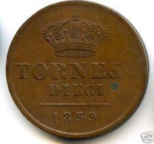 ITALIE NAPLES FERDINAND II (1830-1859) 10 TORNESI 1859 QUALITE