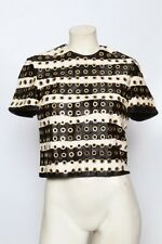 BURBERRY PRORSUM Black & White Gold Grommet Calf Hair Blouse Top Sz XS *sample