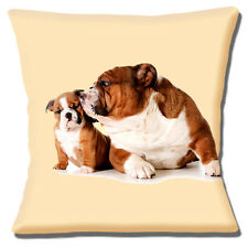 NEW ENGLISH BULLDOG ADULT CUTE PUPPY KISS FROM MUM CREAM 16 Pillow Cushion Cover