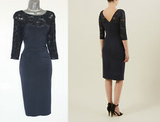 PLANET Navy Jersey Lace Embellished Side Pleat Detail Cocktail Dress sz-10 £99