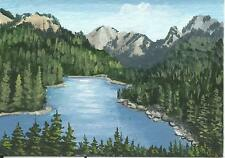 """Aceo original acrylic painting """"Lake View"""" by J. Hutson"""
