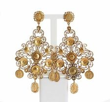 NWT DOLCE & GABBANA Gold Brass Chandelier Filigrana Sicily Clip On Earrings Logo