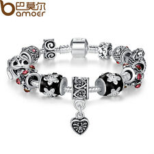 Christmas LOVE European 925 Silver Charms Bracelets With Black Murano Beads DIY