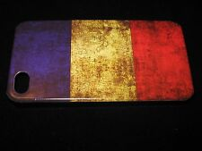 France Cover Case for iPhone 4 4s France Flag Vintage Look on Black Case