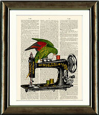 Old Book page Art Print - Parrot On Sewing Machine Vintage Dictionary Page Print