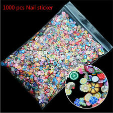 1000PCS 3D Fruit Animals Fimo Slice Clay DIY Nail Art Tip Sticker Decoration HH