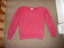Monsoon Pink with Gold sparkle long sleeve scoop neck top/ knitted jumper Size L
