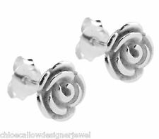 1x Pair of 5mm 925 Sterling Silver Rose Flower Ear Studs Earrings + gift bag