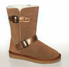 Snow Paw UK 3 Chestnut Suede Leather Merino Wool Lined Buckle New Boots