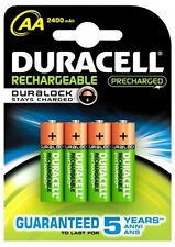 4 BATTERIES RECHARGEABLE DURACELL 2500 mAh NiMH AA HR06 LR6 RECHARGEABLE BATTERY