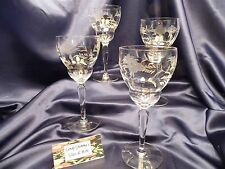 Vintage Weston? Crystal  Etched Floral Water Wine Glass set of four